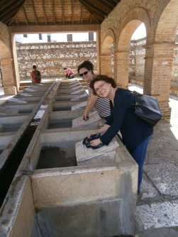 My mother and I pretending we are washing clothes in Aracena