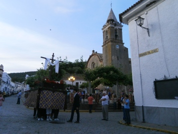 Main square in May and a small procession